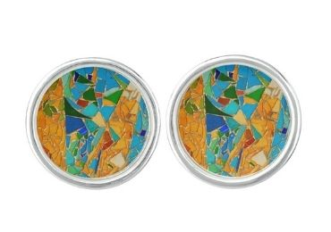 custom Mosaic Enamel Cufflinks wholesale manufacturer and supplier in China