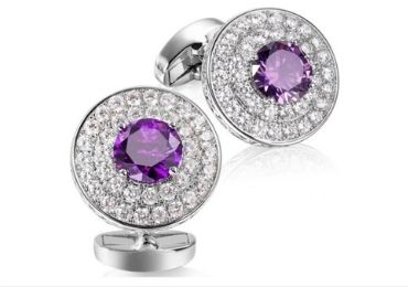custom Purple Gem Cufflinks wholesale manufacturer and supplier in China
